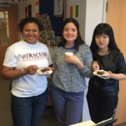 Students eating cake